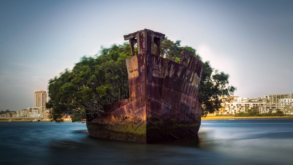 The sunken shipwreck on the reef, Homebush Bay, Sydney, Australia