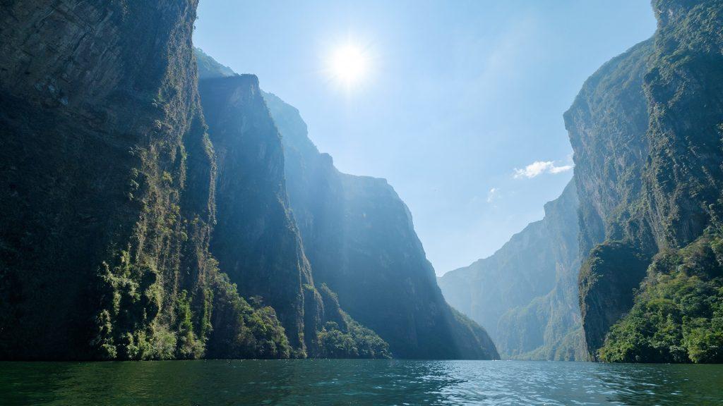 Narrow and deep Sumidero Canyon, Chiapas, Mexico