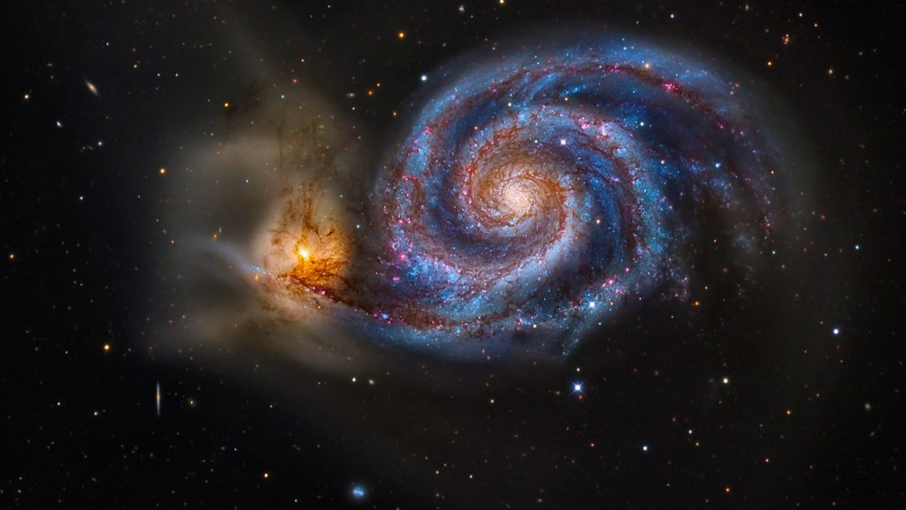 The Whirlpool Galaxy M51 - pair of galaxies locked in a gravitational embrace