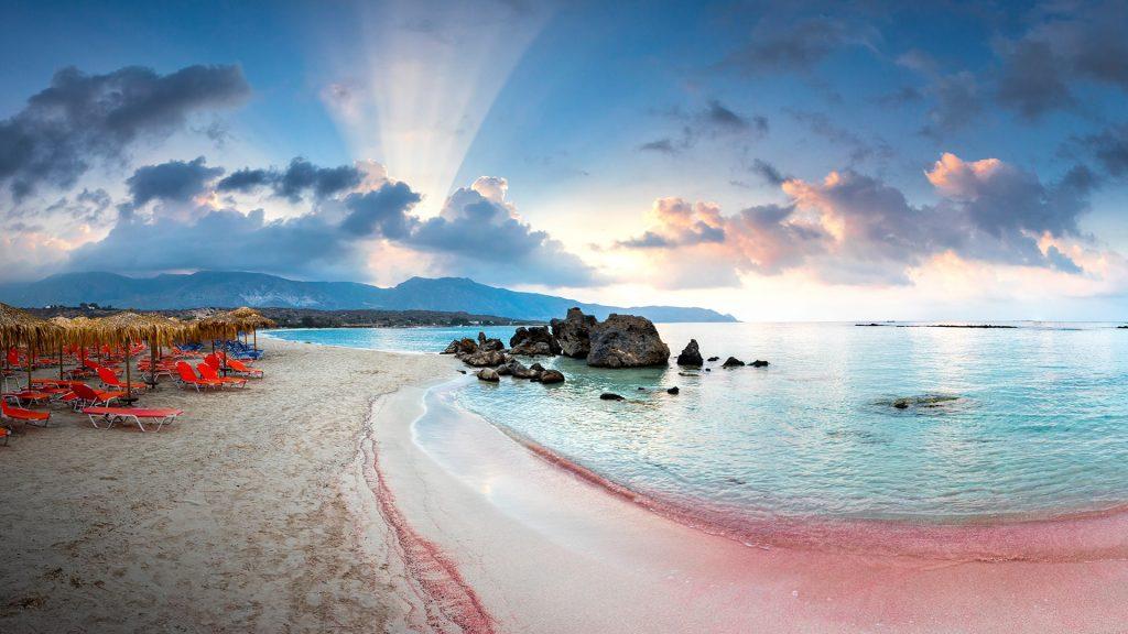 Elafonissi pink beach, Elafonisi lagoon, Crete Island, Greece