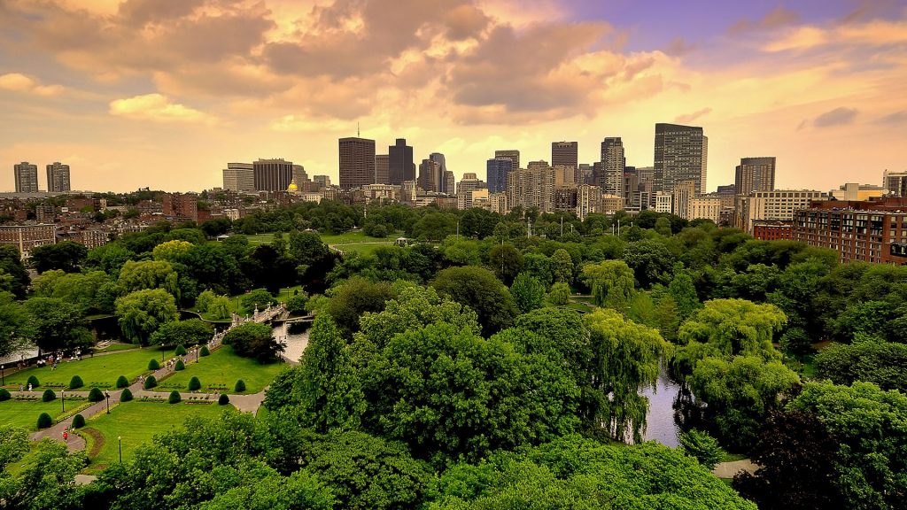 Aerial view of Boston Skyline and Boston Public Garden in early morning, Massachusetts, USA