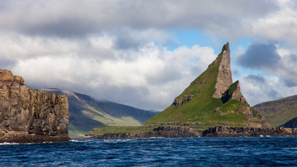 Tindhólmur islet on the southside of Sørvágsfjørður, west of Vágar in the Faroe Islands, Denmark