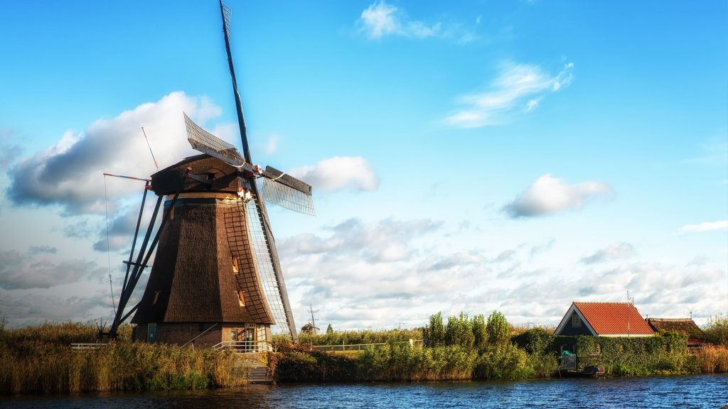 Traditional dutch windmill near the river, Kinderdijk, Netherlands