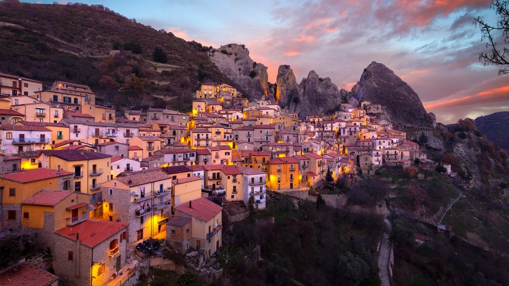 Sunset in Lucan Dolomites over Castelmezzano village, Potenza, Basilicata, Italy
