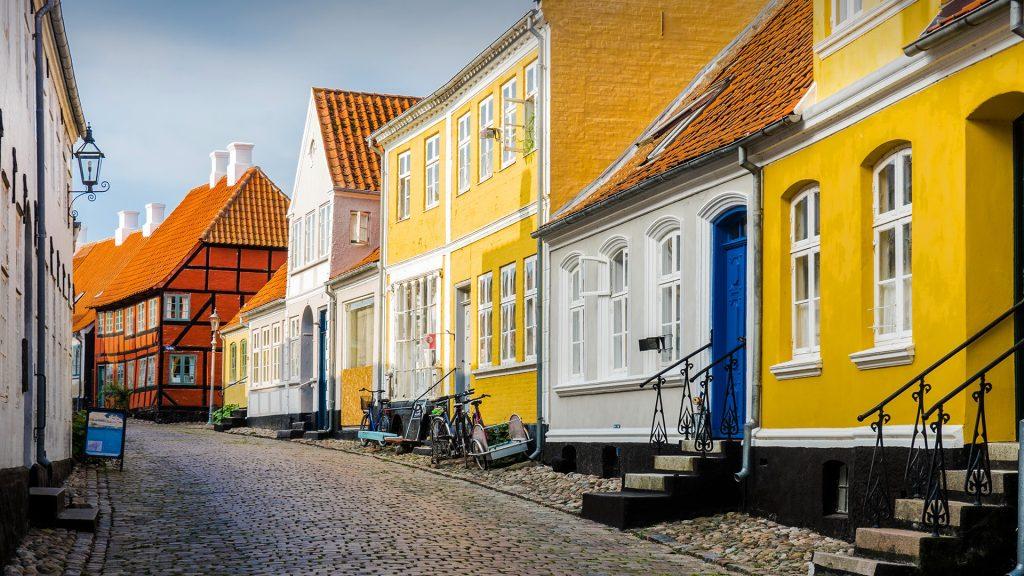 A street in Aeroskobing town on the Danish island of Aero, Ærøskøbing, Ærø, Denmark