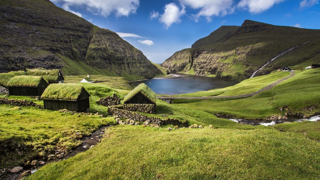 Village of Saksun view, Streymoy island, Faroe Islands, Denmark