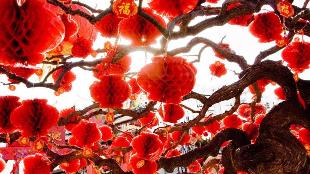Decoration to celebrate Chinese New Year, Ditan Park, Beijing, China
