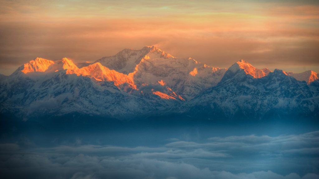 View of Kangchenjunga peak from Tiger Hill, Darjeeling, West Bengal, India
