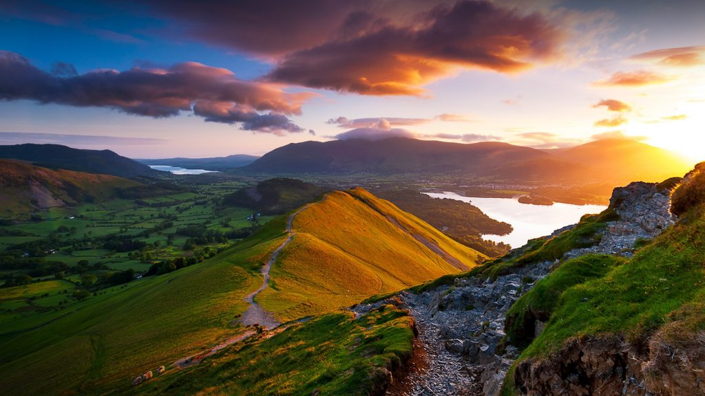 Sunrise from Catbells Fell, Skiddaw massif view, Keswick, Lake District, Cumbria, England, UK