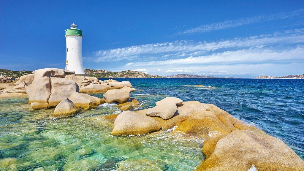 Beach near Punta Palau Lighthouse, Costa Smeralda, Sardinia Island, Italy