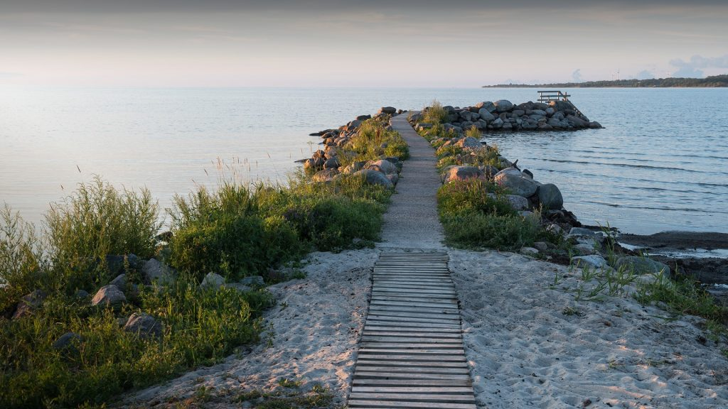 Evening by an idyllic bath pier at the island Öland, Sweden