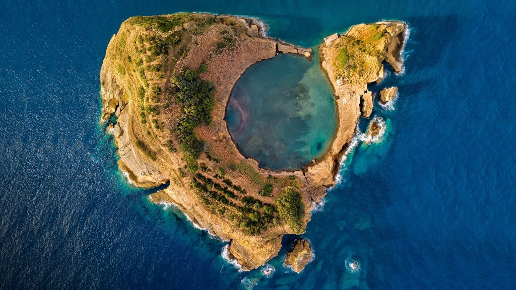 Top view of Islet of Vila Franca do Campo near San Miguel island, Azores, Portugal