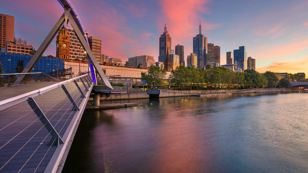 Cityscape of Melbourne during summer sunrise, Victoria, Australia
