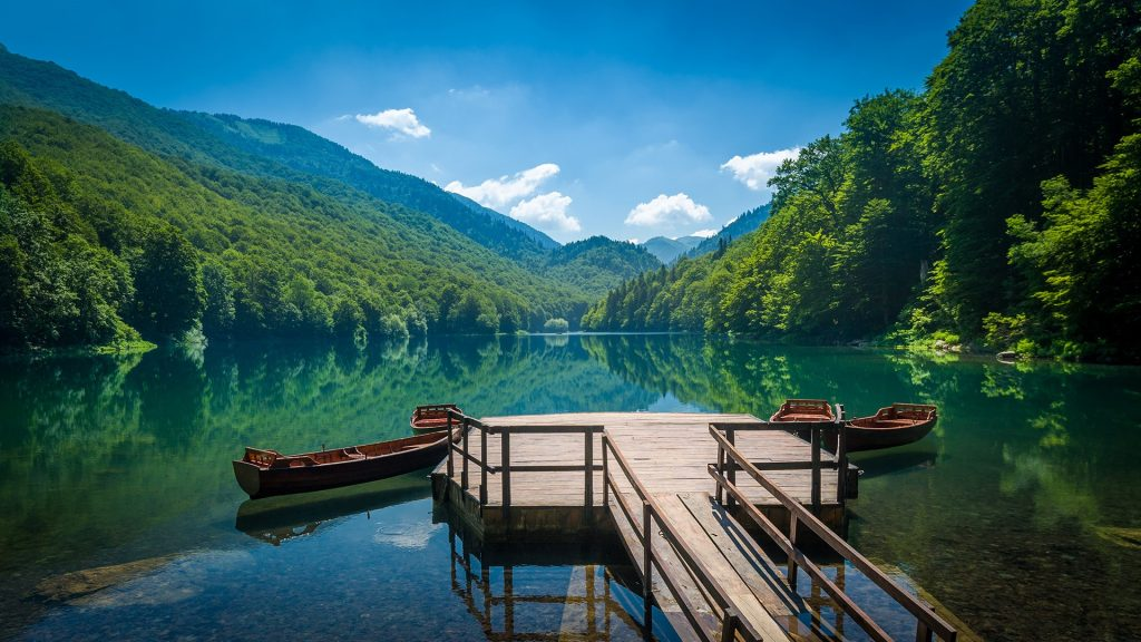Biogradsko lake landscape panoramic view, National park Biogradska gora, Montenegro