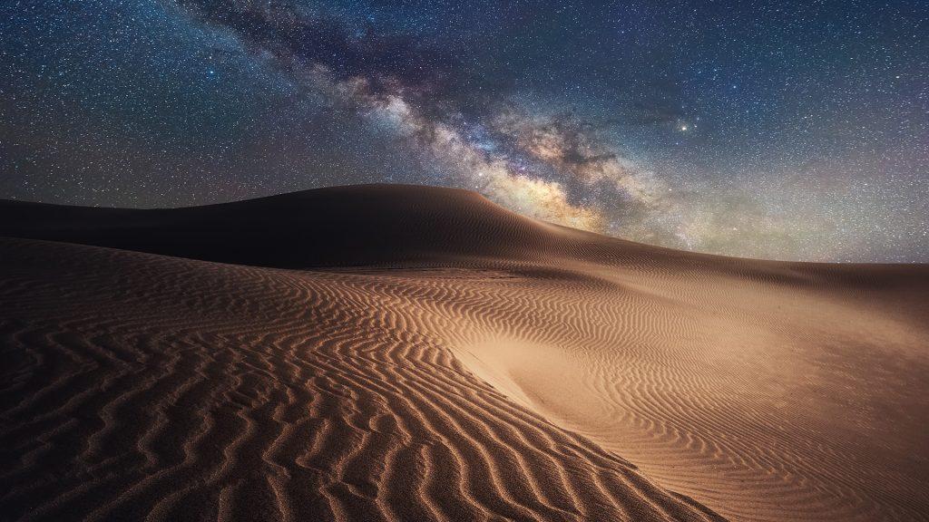 Starry night in the Gobi Desert, Ordos, Inner Mongolia, China