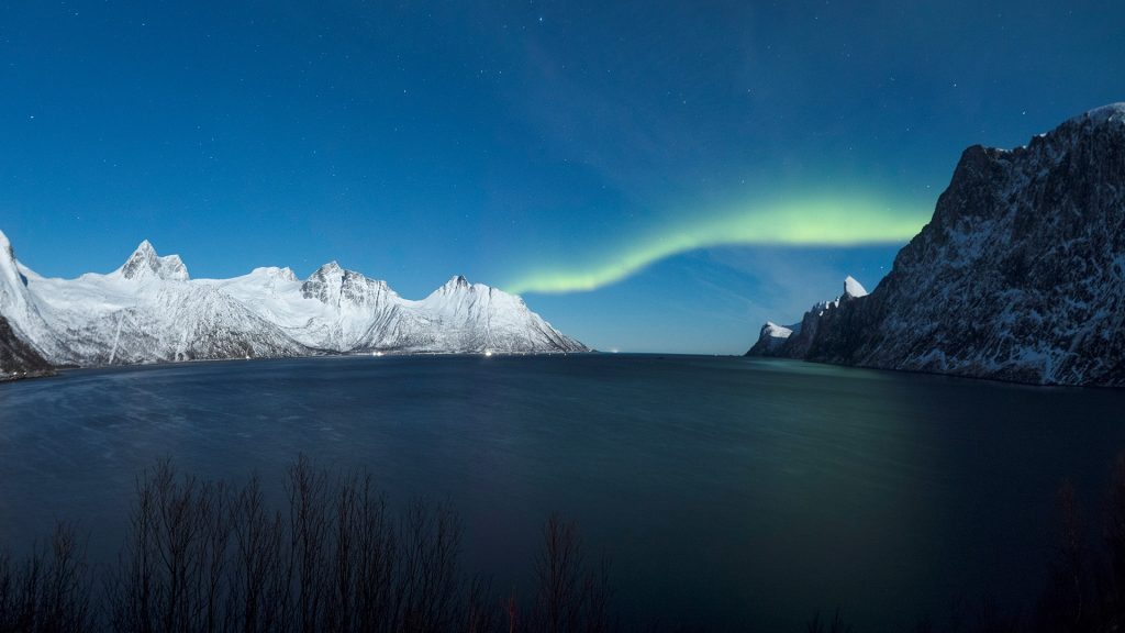Northern lights on the Senjahopen peak, Senja, Mefjordbotn, Troms county, Norway