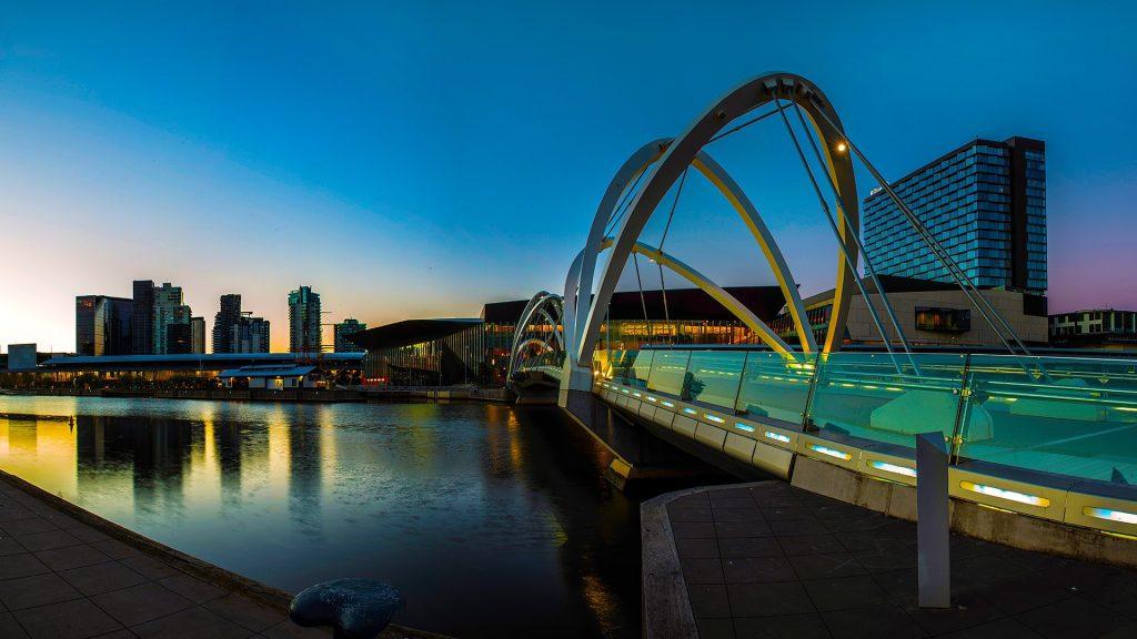 Seafarers Bridge, early light at Melbourne City, Victoria, Australia