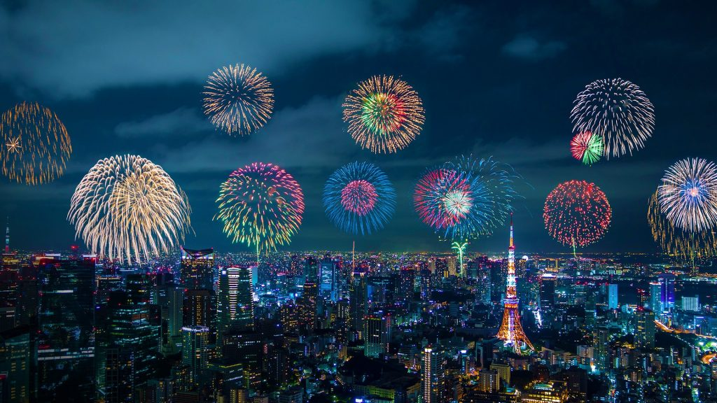 City night view and skyrocket fireworks, Shinjuku Ward, Tokyo, Japan