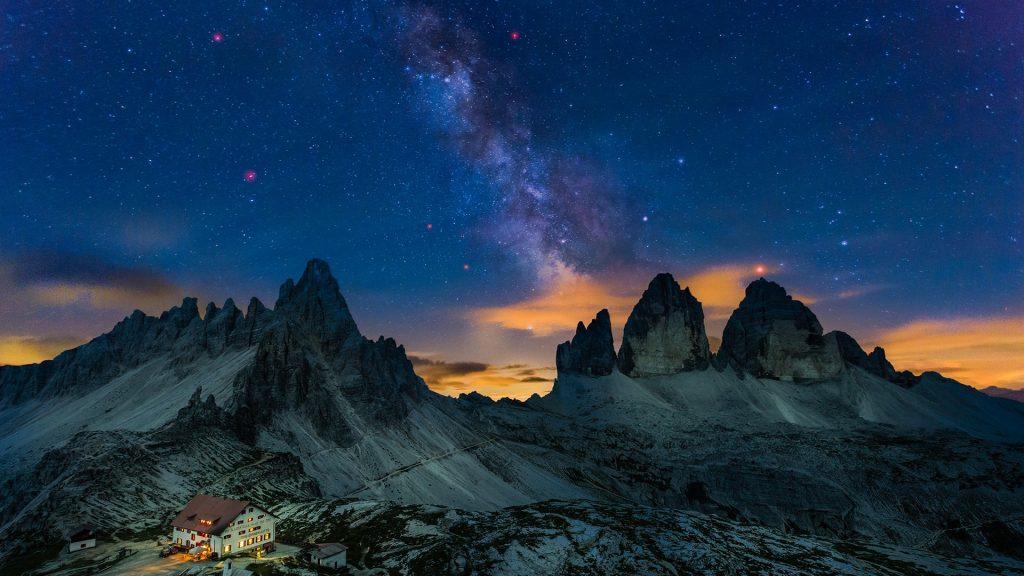 Milky Way over Tre Cime di Lavaredo, Dolomites, Alps, Italy