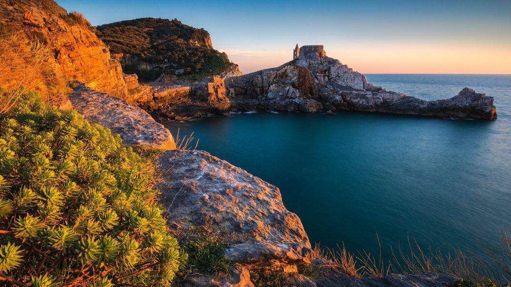 Sunset in Porto Venere, Riviera di Levante, province of La Spezia, Liguria, Italy