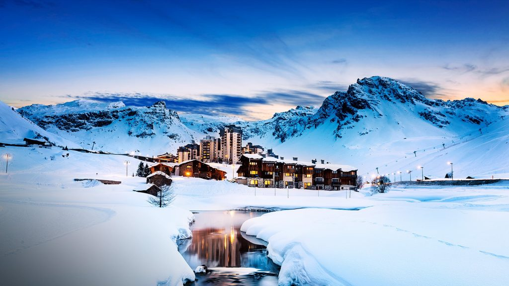 Evening landscape and ski resort in French Alps, Tignes, Tarentaise, Savoy, France