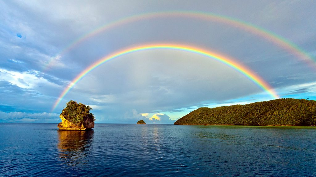 Double rainbow at Misool island, West Papua, New Guinea, Indonesia