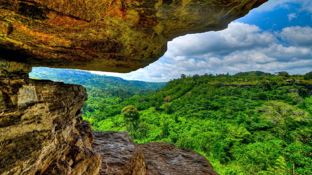 View from Umbrella Rock near Boti falls in the Yilo Krobo District, outside of Accra, Ghana