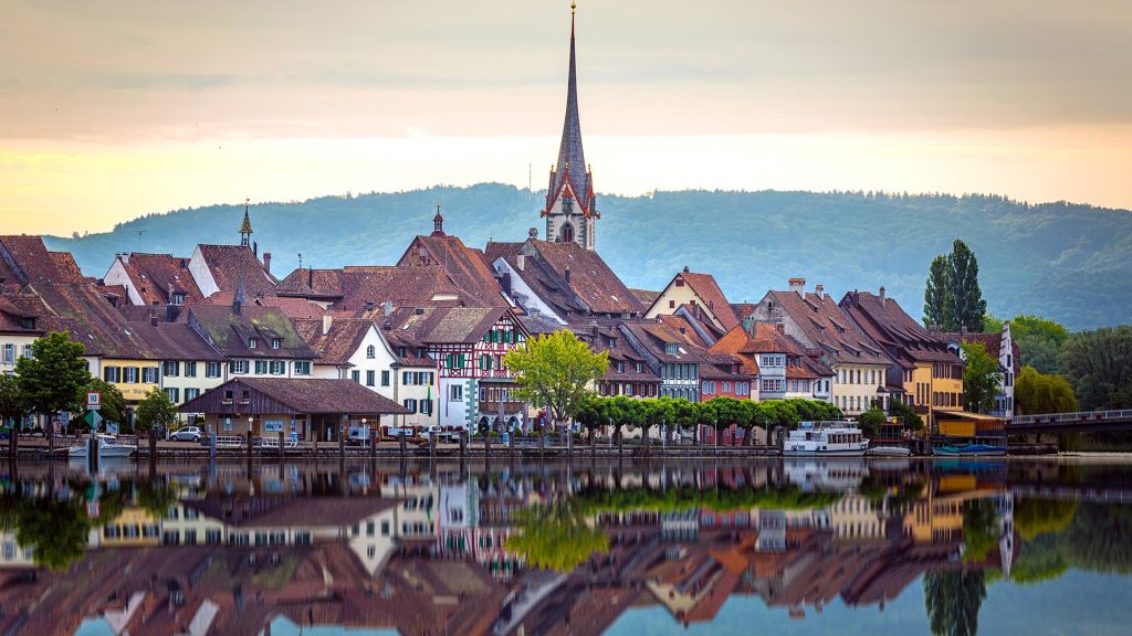Cityscape on the bank of the Rhine River, Stein am Rhein, Schaffhausen, Switzerland