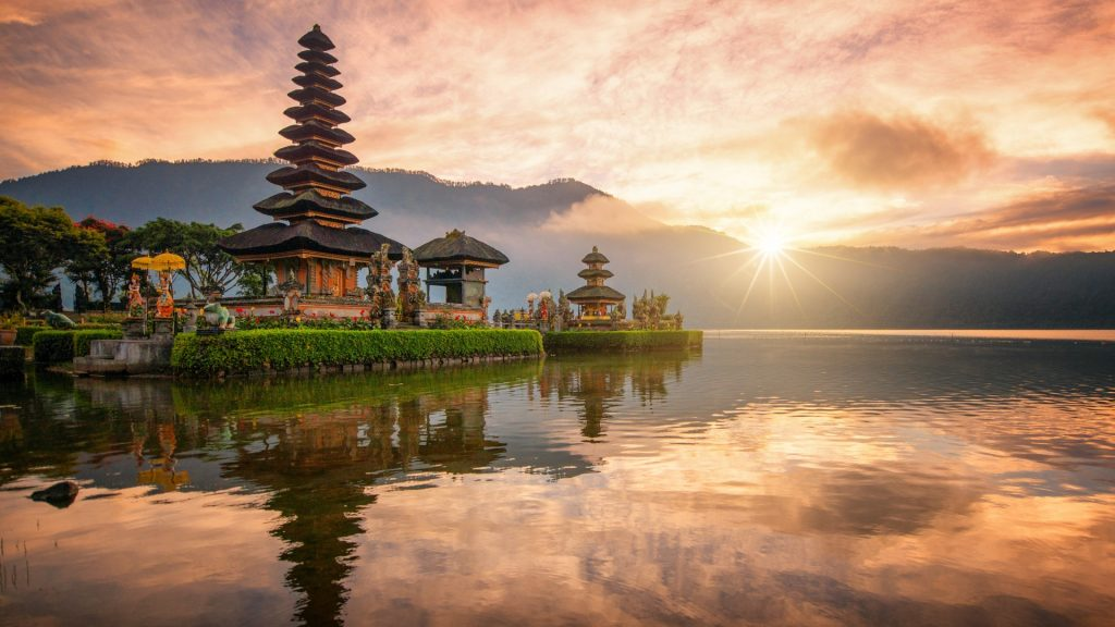 Hindu temple Pura Ulun Danu Bratan on Bratan lake, Bali, Indonesia