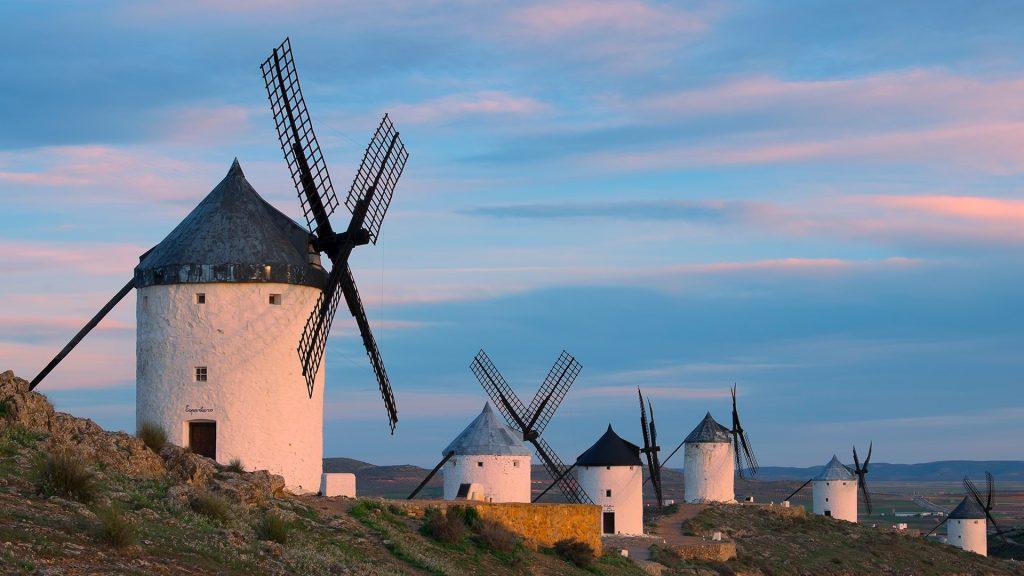 Blue sky and windmills, Consuegra, Toledo province, Castilla-La Mancha, Spain