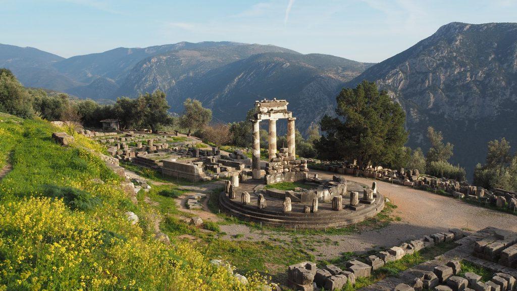 Sanctuary in Ancient Temple of Athena Pronea, Delphi, Phocis, Greece