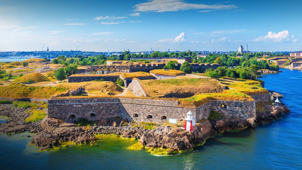 Summer aerial view of Suomenlinna Sveaborg sea fortress in Helsinki, Finland