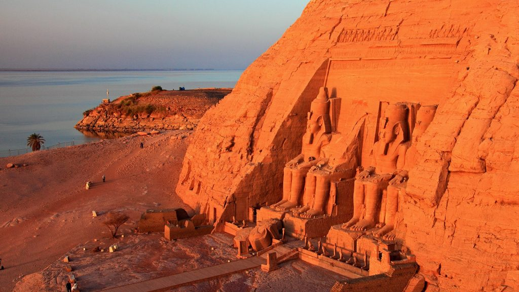 Great Temple of Abu Simbel with Lake Nasser in early morning light, Aswan, Nubia, Egypt