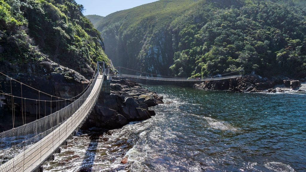 Suspension bridge over Storms River Mouth, Tsitsikamma National Park, East Cape, South Africa