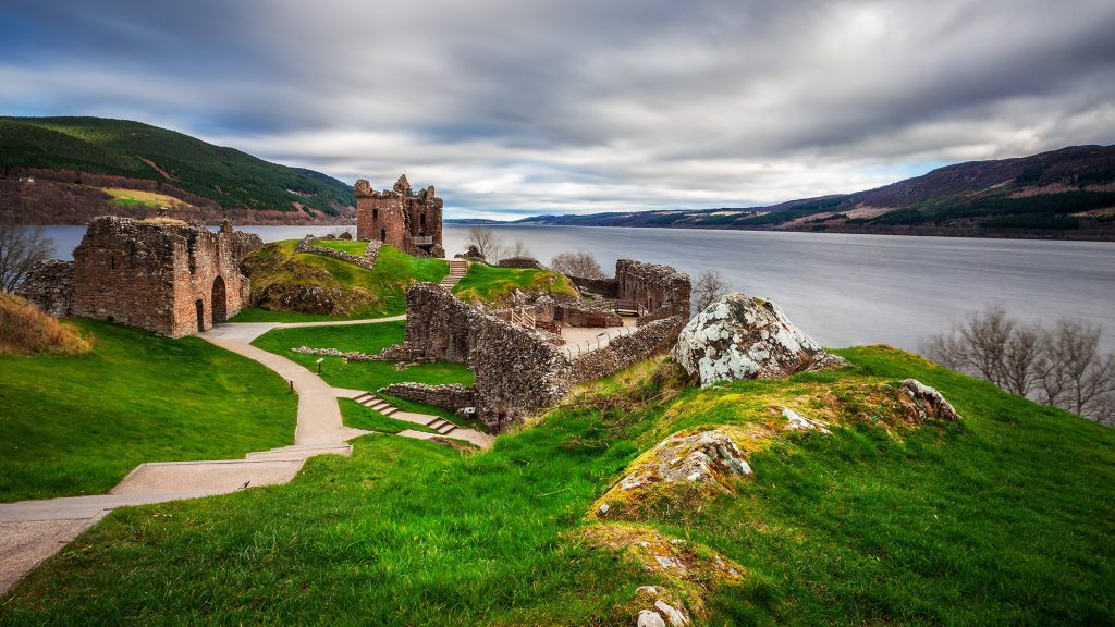 Urquhart Castle ruins on on Lochness Lake in the Highlands of Scotland, UK