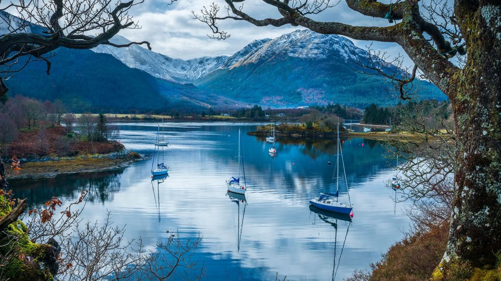 North Ballachulish, sailboats on Loch Leven, Scotland, UK