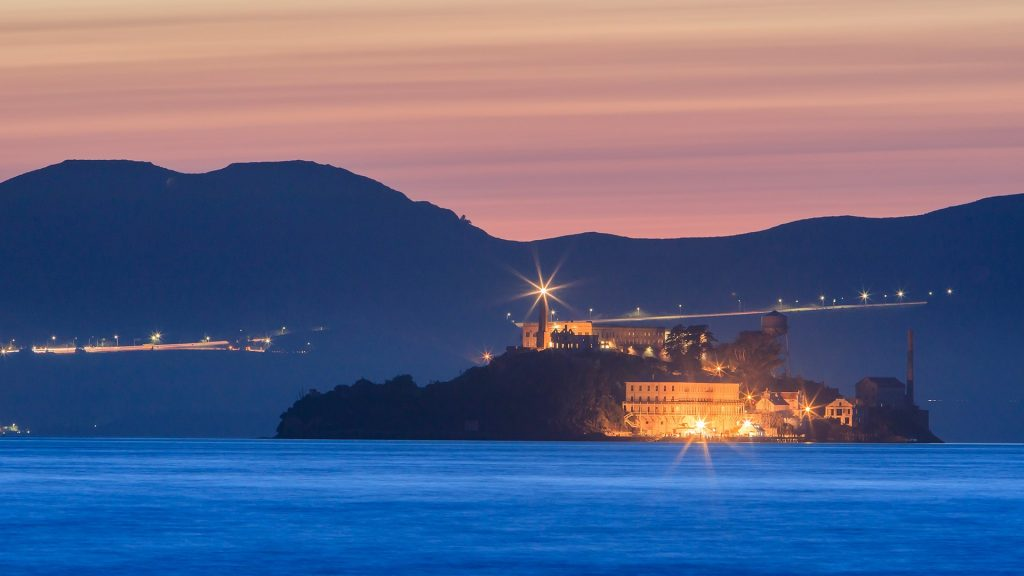 The devil island Alcatraz in San Francisco Bay at sunset, California, USA
