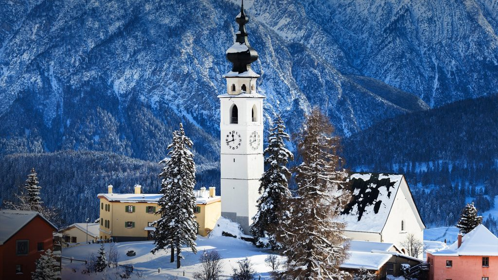 Fresh snow at the village of Ftan, Scuol, Lower Engadine, Canton of Graubünden, Switzerland