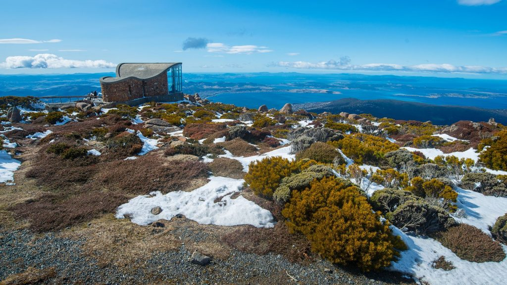 Wind shelter on the top to Mount Wellington, Hobart, Tasmania, Australia