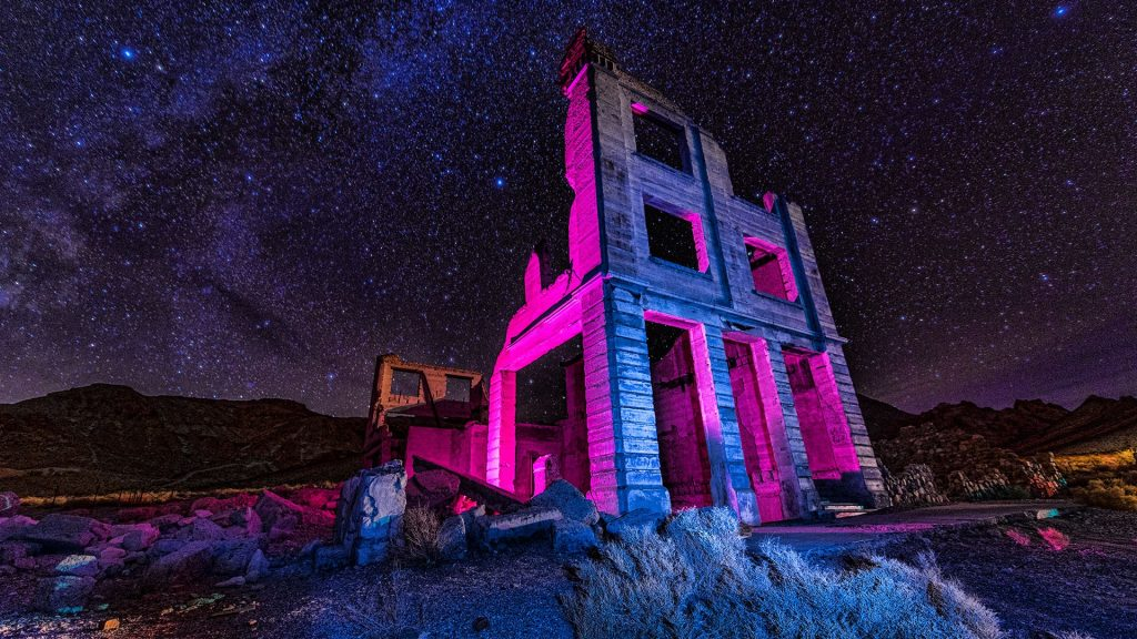 Ruins of the Cook Bank building in Rhyolite ghost town, Death Valley, Nevada, USA