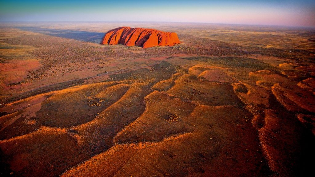 Aerial view of Ayers Rock in Uluru-Kata Tjuta National Park, Northern Territory, Australia