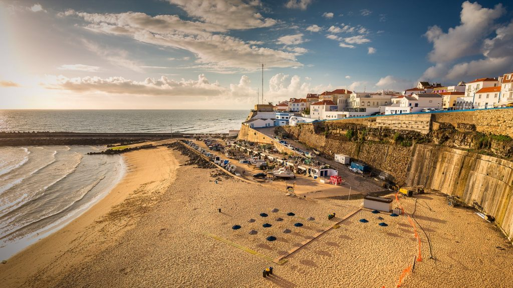 The popular beach town Ericeira in the afternoon sun, Portugal