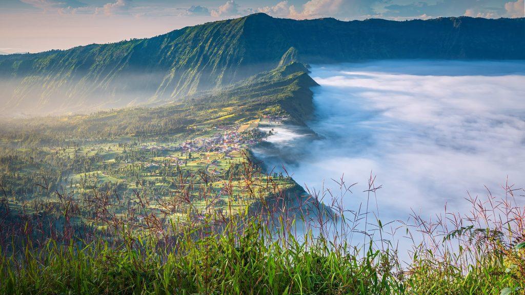 Morning view of Cemoro Lawang village, Bromo-Tengger-Semeru National Park, East Java, Indonesia