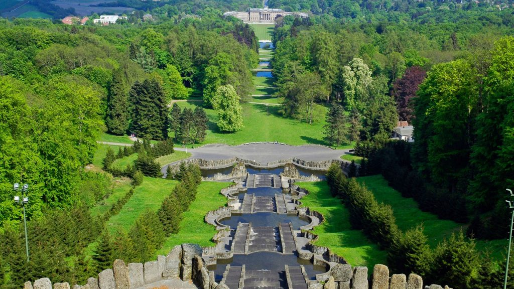 View from the Hercules monument at Bergpark Wilhelmshöhe, Kassel, Hesse, Germany