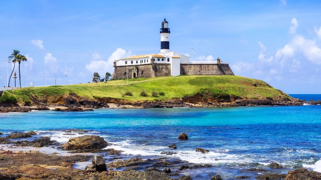 View of Farol da Barra Lighthouse in Salvador da Bahia, Brazil