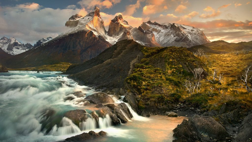 Sunrise at Salto Grande waterfall in Torres del Paine National Park, Patagonia, Chile