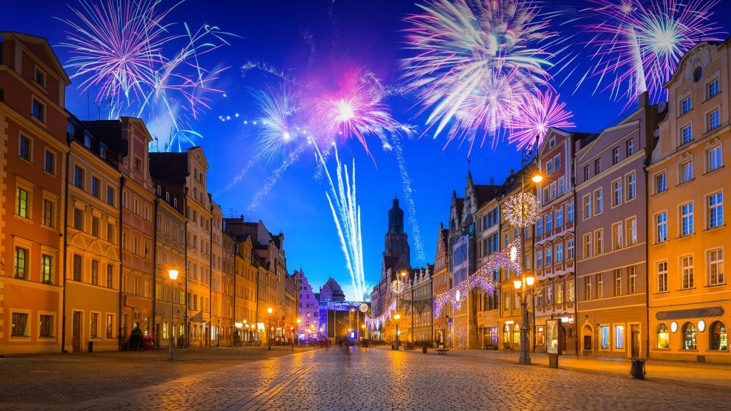 New Years firework seen from Market Square in Wrocław, Poland