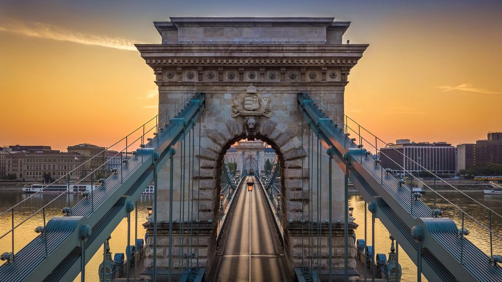 The Széchenyi Chain Bridge over Danube River at sunrise, Budapest, Hungary