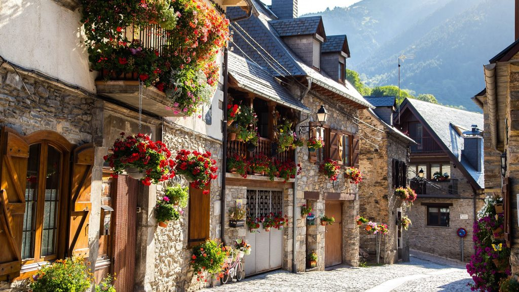 Vilac town in Val d'Aran decorated with flowers during summer, Catalonia, Spain