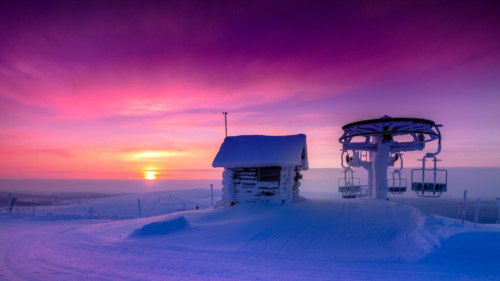 Sunrise at the top of Saariselka hills, Lapland, Finland
